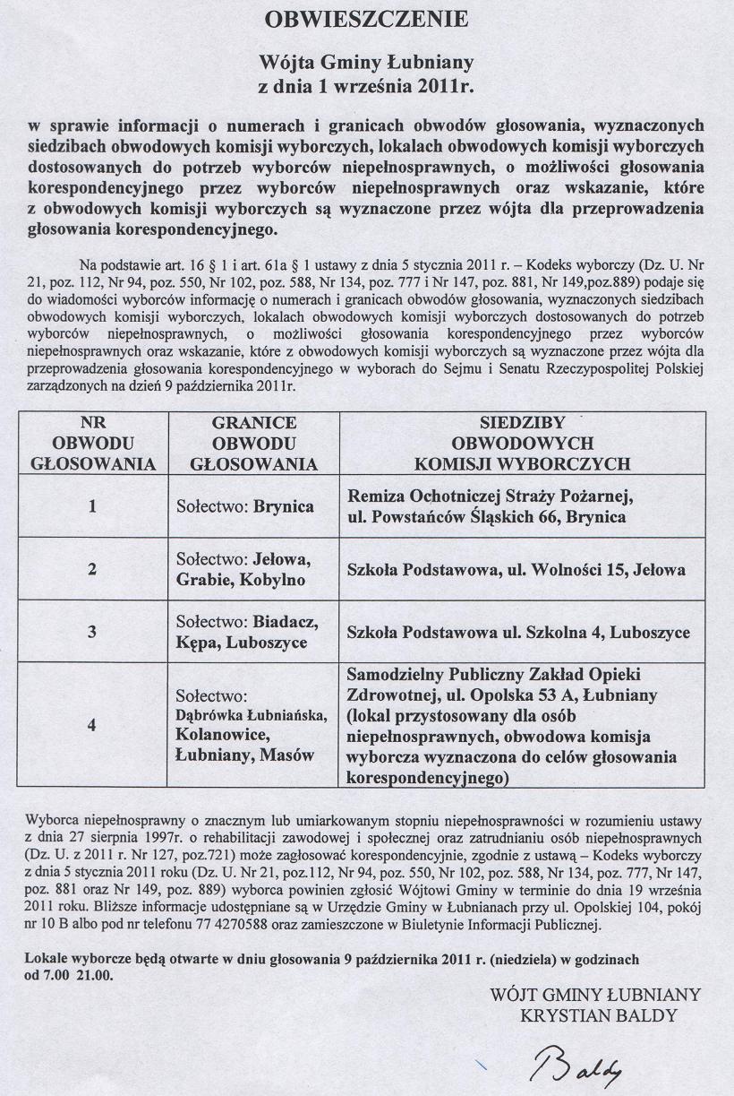 Obwieszczenie Wójta Gminy Łubniany z dnia 1 września 2011 r..jpeg